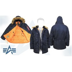 Куртка аляска N-3B Parka Slim Fit Replica Blue/Orange Alpha - фото 12775
