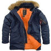Куртка аляска N-3B Parka Slim Fit Replica Blue/Orange Alpha