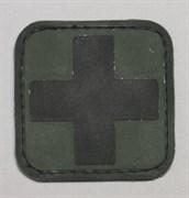 Шеврон на липучке Medic PVC черный на зеленом