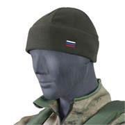 Шапка флис с российским флагом олива