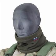 Утеплитель для шеи флисовый олива с российским флагом