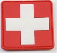 Шеврон на липучке ПВХ Медицинский крест белый на красном