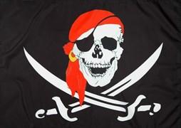 Флаг пиратский с красной банданой 60 x 90 см