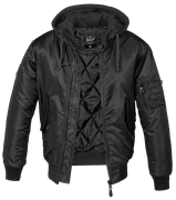 Куртка летная бомбер с капюшоном MA-1 Brandit Black