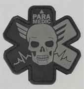 Шеврон на липучке Paramedic PVC серый